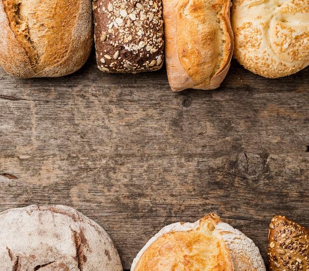 Vário quadro de pão com cópia espaço vista superior