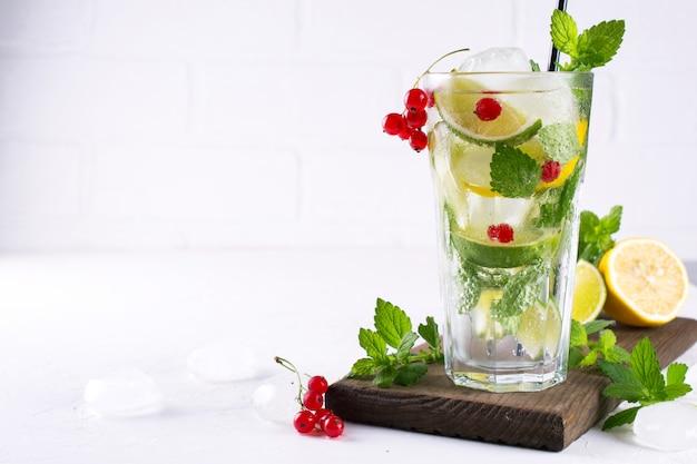 Vários berry limonada ou mojito coquetéis, limão fresco gelado, groselha com infusão de água, desintoxicação saudável do verão bebe espaço de cópia de fundo claro