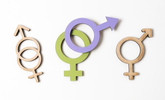Vários conceito de símbolos de gênero feminino e masculino