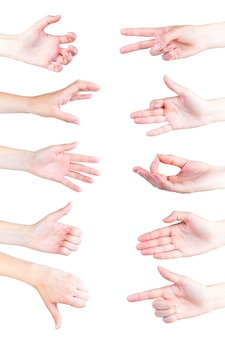 Vários gestos de mão isolado no fundo branco