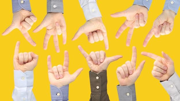 Vários gestos de mãos masculinas entre