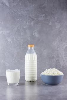 Vários produtos lácteos. produtos lácteos saudáveis em um fundo cinza