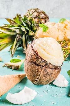 Vários sorvete de sorvete tropical