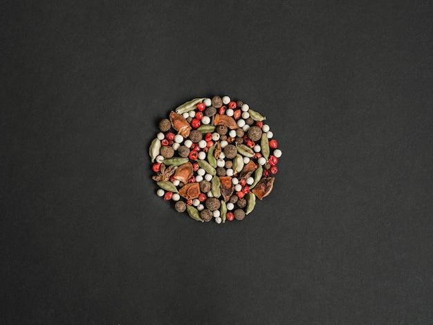 Vários temperos secos em forma de círculo