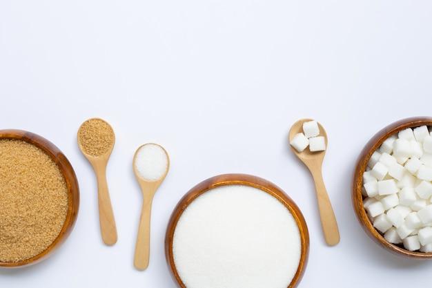 Vários tipos de açúcar. vista superior flay lay