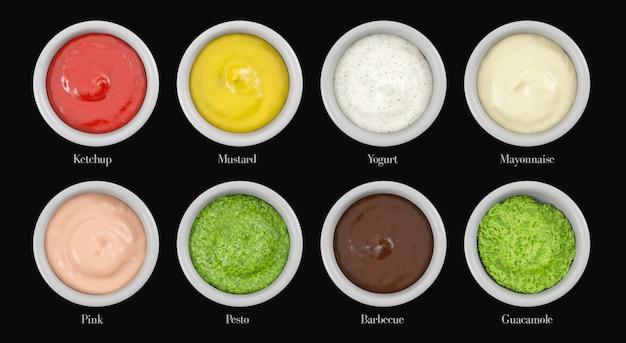 Vários tipos de molho para corte, ketchup, mostarda, iogurte, maionese, rosa, pesto, churrasco, guacamole.