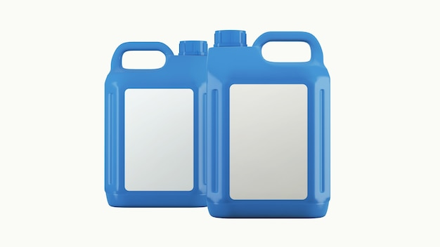 Vasilha azul com óleo de motor ou lubrificante isolado no branco