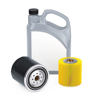 Vasilha de plástico de óleo de motor de automóvel, elemento de filtro e novo filtro de óleo em uma caixa preta sobre fundo branco. renderização 3d