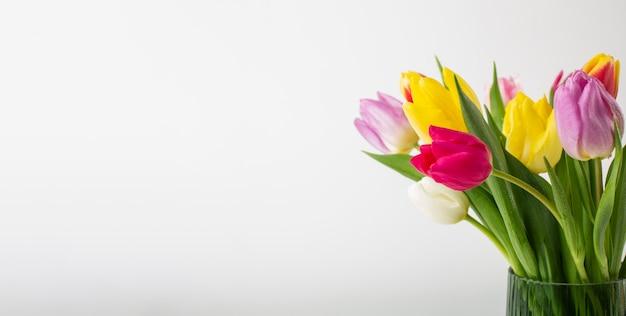 Vaso com tulipas de perto