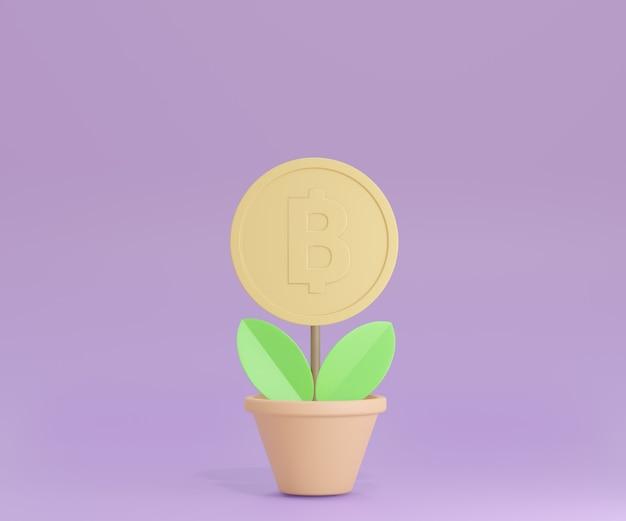 Vaso de flores 3d com moedas de ouro sobre fundo roxo. renderização de ilustração 3d.