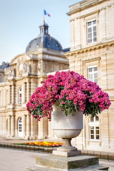 Vaso de mármore com flores no jardim de luxemburgo, paris