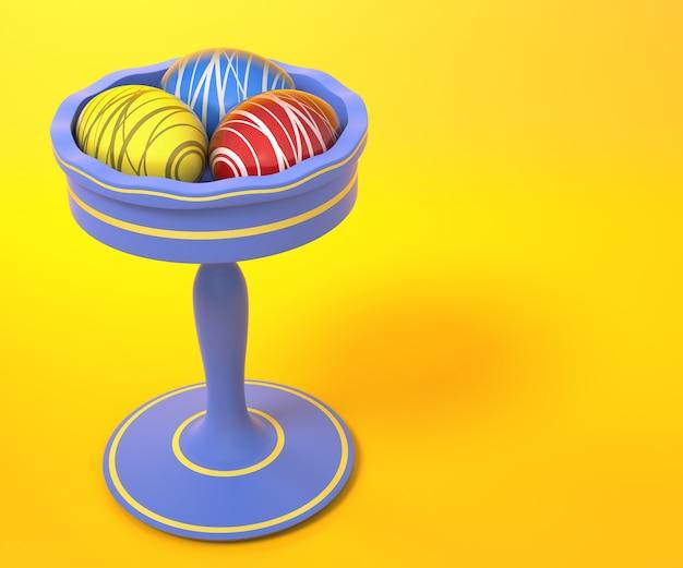 Vaso de ovos de páscoa. renderização 3d.