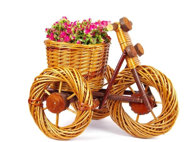 Vaso decorativo para bicicleta com flores