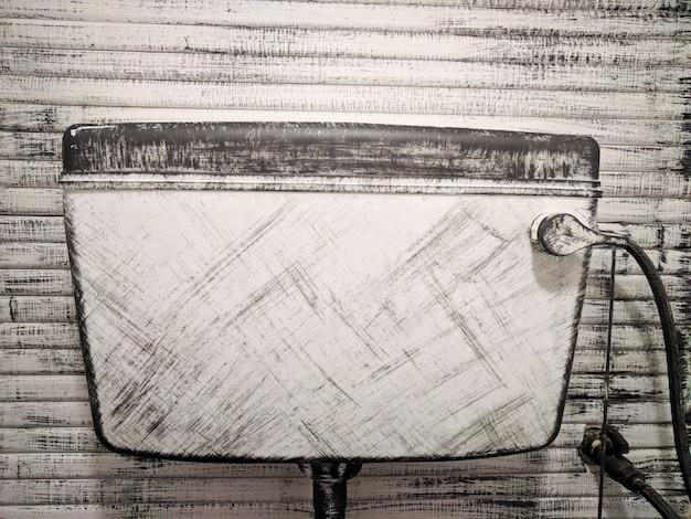 Vaso sanitário criativo. linhas e testes padrões abstratos do desenho em uma tabela branca.
