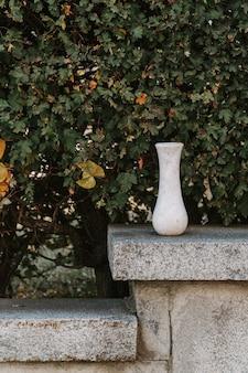 Vaso vazio de mármore em folhas verdes