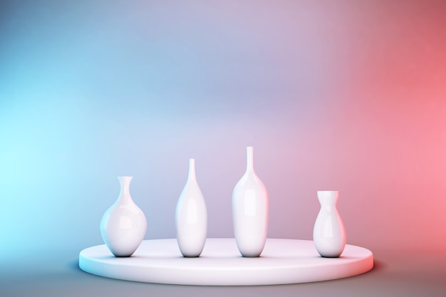 Vasos 3d brancos no pedestal isolado em fundo rosa pastel e azul. exposição abstrata do pódio para promoção de produtos com espaço de cópia.