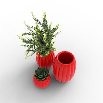 Vasos com plantas e suculentas em um fundo branco ilustração 3d