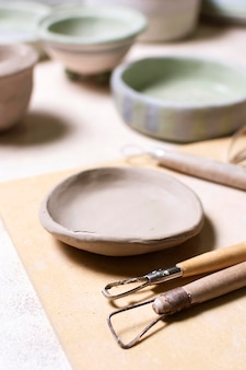 Vasos de cerâmica de close-up