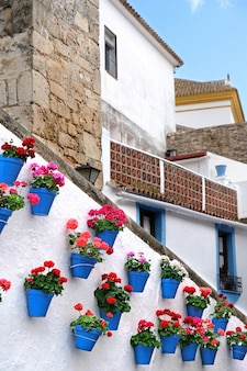 Vasos de flores que decoram na parede branca na cidade velha de marbella