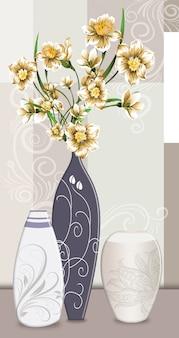 Vasos de ilustração clássica 3d com flores douradas para arte de parede em tela
