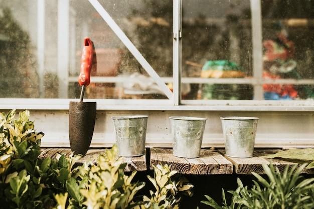 Vasos de plantas com espátula na mesa de madeira