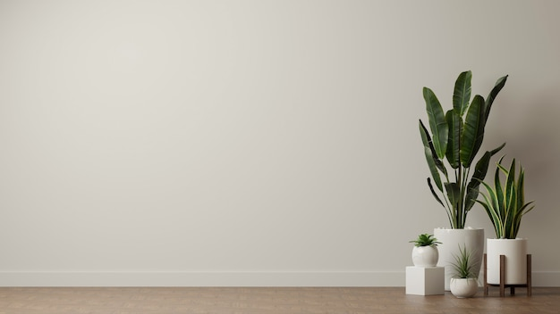 Vasos de plantas de casa decorados em sala de estar com espaço de cópia de fundo de parede branca
