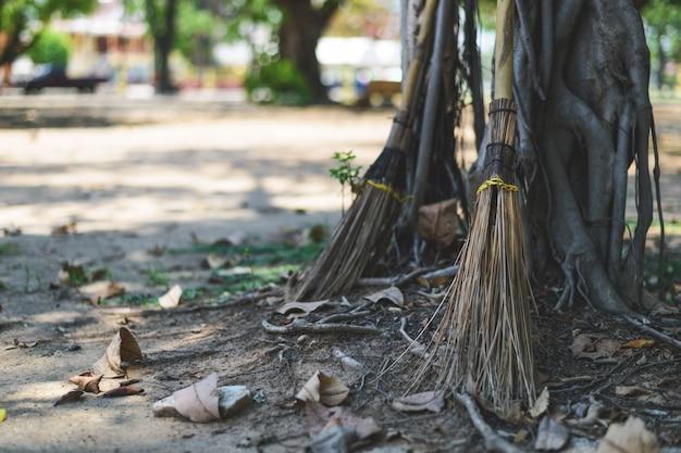 Vassoura closeup feita de folhas de coco ao lado da árvore no templo