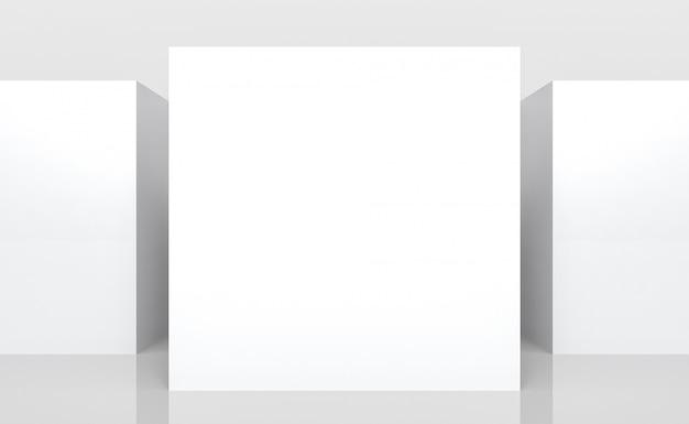 Vazio branco simulado acima da placa do cubo quadrado caixa lado pilha parede plano de fundo.