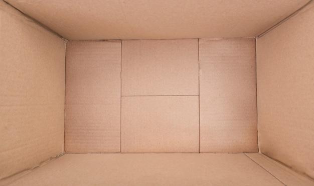 Vazio dentro da caixa marrom, caixa de papelão, embalagem de papel, embalagem aberta