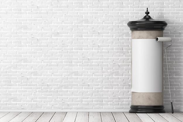 Vazio em branco cilíndrico publicidade coluna maquete outdoor com espaço livre para seu projeto com pincel de cola na frente da parede de tijolos. renderização 3d