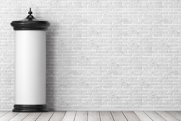 Vazio em branco cilíndrico publicidade coluna maquete outdoor com espaço livre para seu projeto na frente da parede de tijolos. renderização 3d