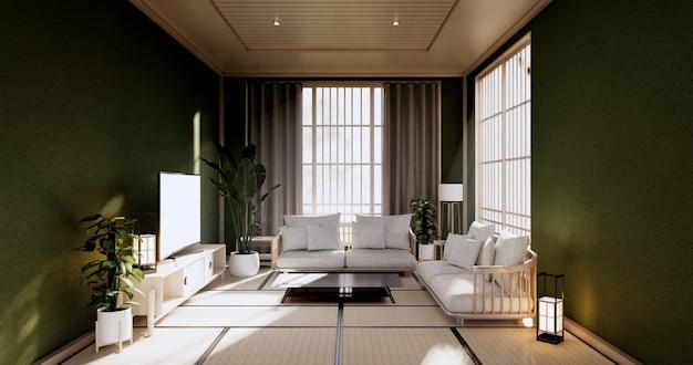 Vazio - sala limpa e moderna em estilo japonês. renderização 3d