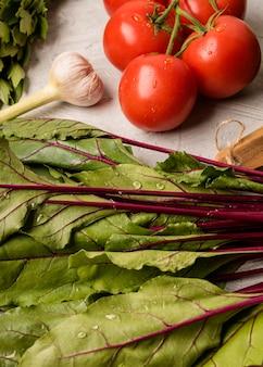 Vegetais de alta vista para salada