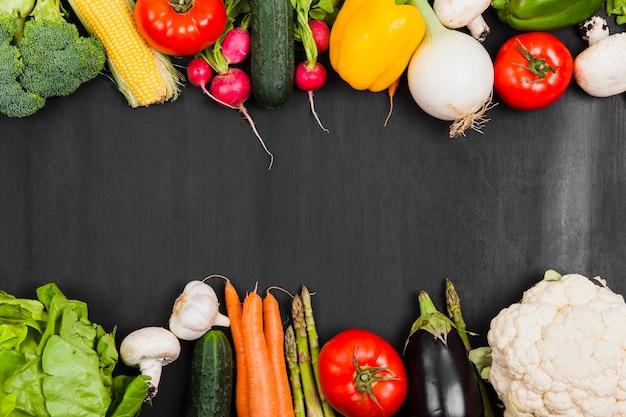 Vegetais deliciosos e espaço no meio