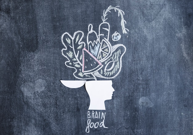 Vegetais desenhados sobre a cabeça aberta na lousa