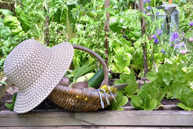 Vegetais frescos em uma cesta de vime com chapéu colocado em uma horta florida