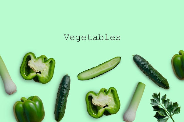 Vegetais verdes pepinos pimentões cebolas ervas vista de cima maquete de vegetais