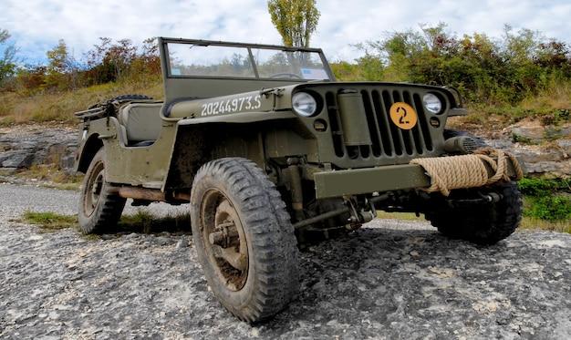 Veículo de jipe militar americano da segunda guerra mundial