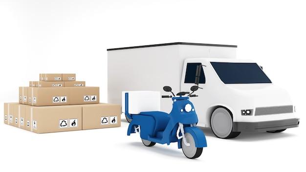 Veículo de transporte de 4 rodas com bicicleta de entrega e motocicleta de transporte de boxcar de embalagem