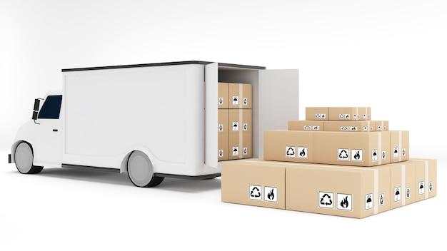 Veículo de transporte de 4 rodas com caixas de embalagem em fundo branco, transporte de carro, renderização em 3d