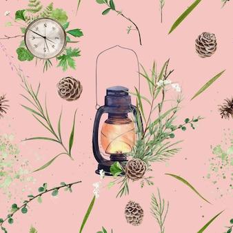 Vela aquarela, relógio e padrão de plantas em fundo rosa