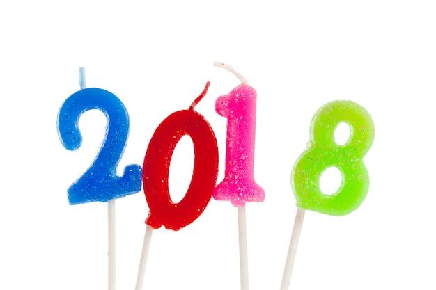 Vela de aniversário de número de aniversário: ano de 2018