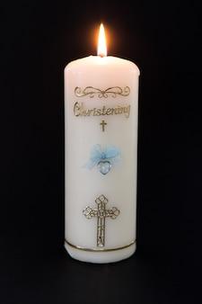 Vela de batismo branco com detalhes azuis