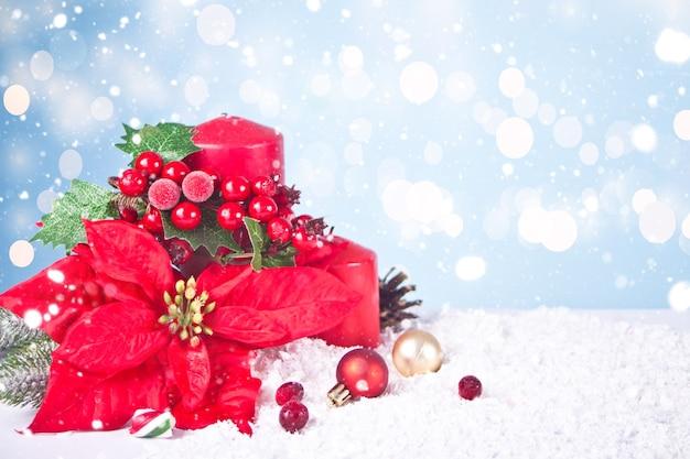 Velas vermelhas de natal, frutas e flores de poinsétia. conceito de férias de natal e ano novo. copie o espaço.