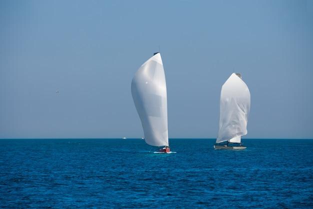 Veleiros, regata, velejando, mediterrâneo