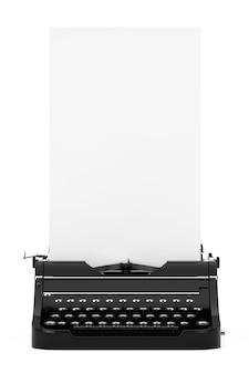 Velha máquina de escrever retro vintage com papel em branco longo branco pronto para seu projeto em um fundo branco. renderização 3d