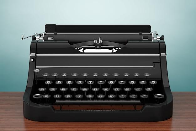 Velha máquina de escrever retro vintage em uma mesa de madeira. renderização 3d.