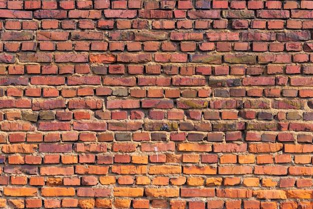 Velha parede de tijolo vermelho como pano de fundo, fundo de tijolo