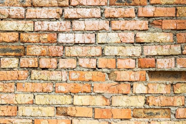 Velha parede de tijolos sujos vintage com casca de gesso, textura