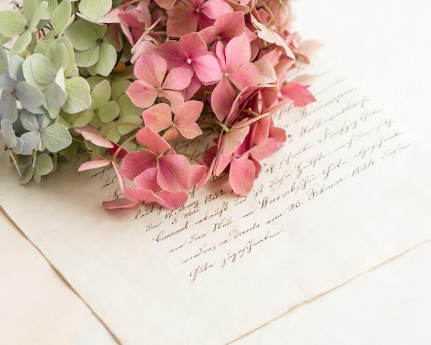 Velhas cartas de amor e flores de jardim hortensia. fundo de estilo vintage romântico. foco seletivo